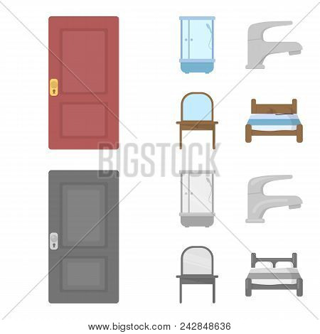 Door, Shower Cubicle, Mirror With Drawers, Faucet.furnitureset Collection Icons In Cartoon, Monochro