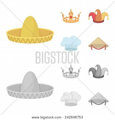 Crown, Jester Cap, Cook, Cone. Hats Set Collection Icons In Cartoon, Monochrome Style Vector Symbol