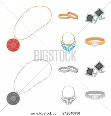 Wedding Rings, Cuff Links, Diamond Necklace, Women Ring With A Stone. Jewelery And Accessories Set C