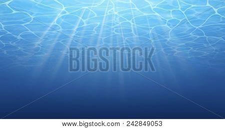 Summer. Texture Of Water Surface. Underwater Background. Waves Effects. Blue Underworld. Ocean, Sea.
