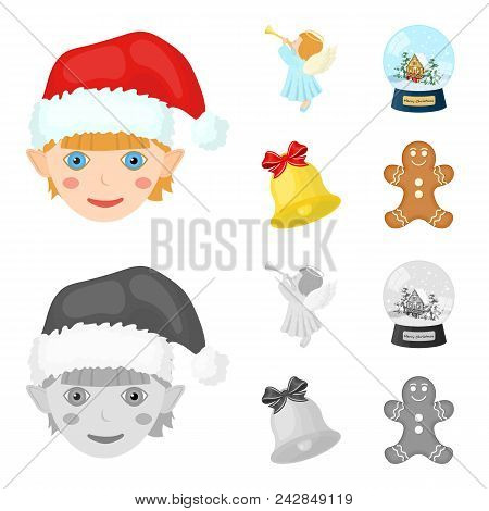 Angel, Glass Bowl, Gingerbread And Bell Cartoon, Monochrome Icons In Set Collection For Design. Chri