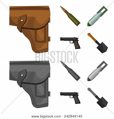 Holster, Cartridge, Air Bomb, Pistol. Military And Army Set Collection Icons In Cartoon, Monochrome