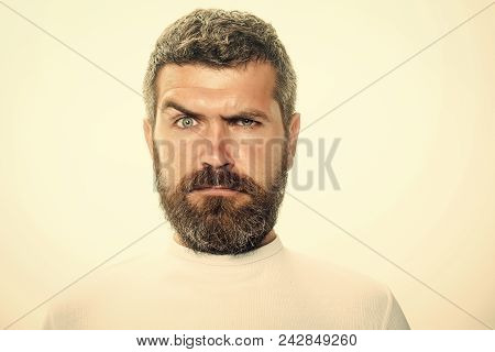 Man With Serious Emotion. Hipster With Serious Face. Guy Or Bearded Man Isolated On White Background