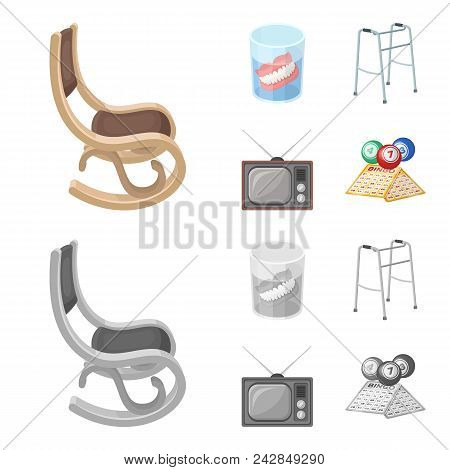 Denture, Rocking Chair, Walker, Old Tv.old Age Set Collection Icons In Cartoon, Monochrome Style Vec