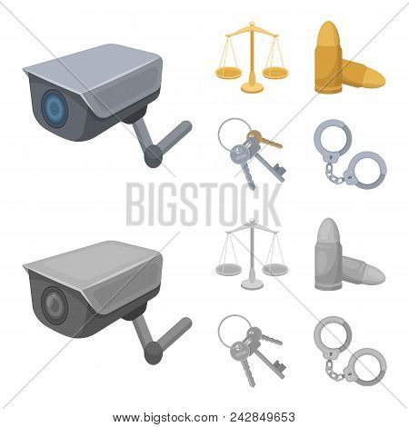 Scales Of Justice, Cartridges, A Bunch Of Keys, Handcuffs.prison Set Collection Icons In Cartoon, Mo