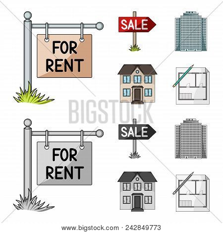 Signs Of Sale And Rent, A Skyscraper, A Two-story Cottage.realtor Set Collection Icons In Cartoon, M