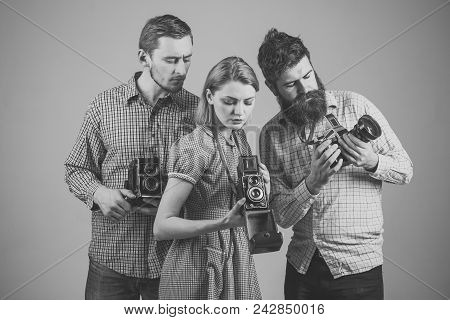 Company Of Busy Photographers With Old Cameras, Filming, Working. Men, Woman On Interested Faces Loo
