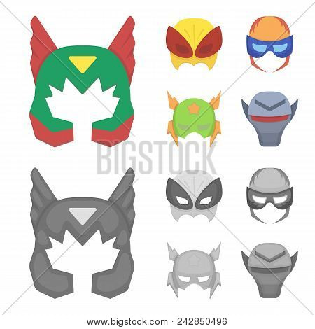 Mask On The Head, Helmet.mask Super Hero Set Collection Icons In Cartoon, Monochrome Style Vector Sy