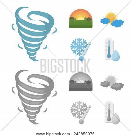 Tornado, Sunrise, Cloudiness, Snow And Frost. The Weather Set Collection Icons In Cartoon, Monochrom