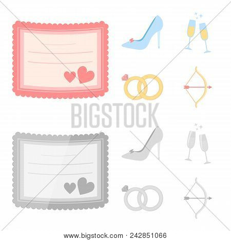 Invitation, Bride Shoes, Champagne Glasses, Wedding Rings. Wedding Set Collection Icons In Cartoon,
