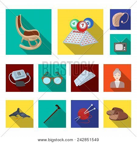 Human Old Age Flat Icons In Set Collection For Design. Pensioner, Period Of Life Vector Symbol Stock