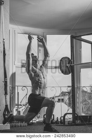 Mens Heals Body Care. Sport And Gym Concept. Man With Torso, Muscular Macho Does Exercise With Trx L