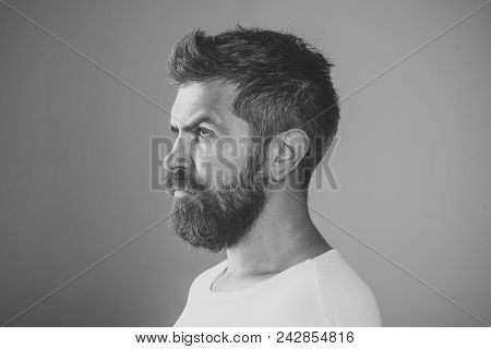 Man With Serious Emotion. Barber Fashion And Beauty. Feeling And Emotions. Man With Long Beard And M
