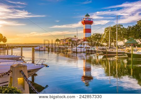 Hilton Head, South Carolina, lighthouse at dusk.