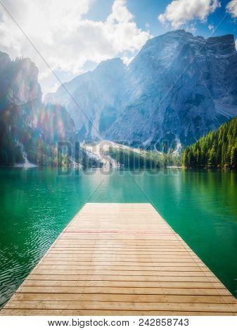 Braies Lake In Dolomites Mountains Seekofel, Italy