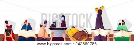 Back To College Or School Vector Illustration Of Students Sitting On Bench And Reading Books. Colleg