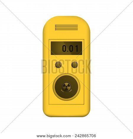 Radiation dosimeter. Counter Geiger. Measurement of radioactive background dose. Vector illustration. Yellow equipment. poster