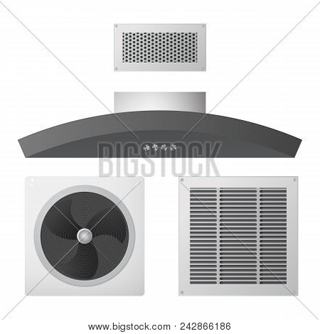 Axial Fan, Kitchen Hood And Supply Exhaust Ventilation Grille. Equipment For The House. Vector Illus