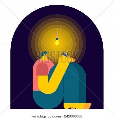 Man Reading Book  In Dark. Night Reading. Vector Illustration