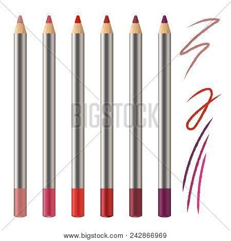 Realistic Vector Set Of Lip Pencil Mockup. Decorative Cosmetic Colored Pencils. Red, Pink, Magenta C