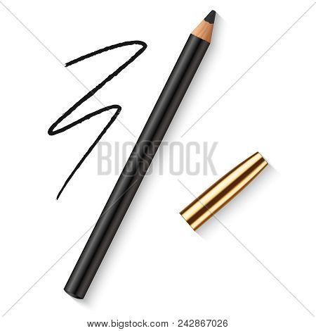 Realistic Vector Eyes Pencil. Decorative Cosmetic Black Eyeliner With Golden Cap And Dark Pencil Str