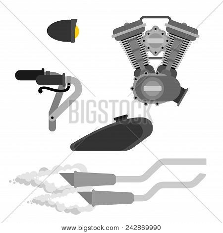Bike Motorcycle Part Set. Engine Racing. Exhaust Pipe And Steering Wheel. Fuel Tank And Headlight. V