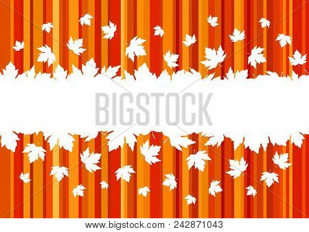 Banner With Colorful Autumn Leaves, Copy Space. Seasonal Banner, Concept Of Autumn. Design For Adver