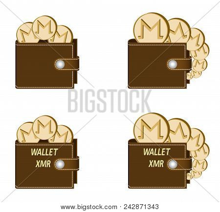 Set Of Brown Wallets With Monero Coins On A White Background , Crypto Currency In The Wallet,sign  C