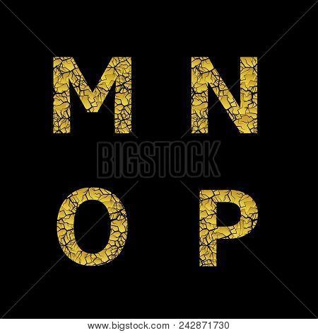 Golden Broken M N O P Letters, Luxury Cracked Letters. Vector Illustration