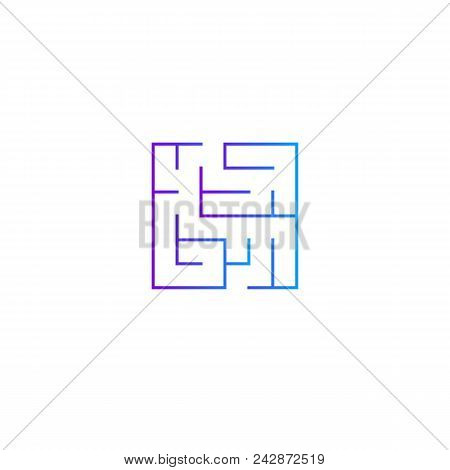 Squared Intricacy Icon. Gradient Color Maze Game Logo