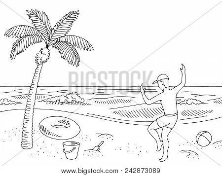 Sea Coast Beach Graphic Black White Landscape Happy Jumping Boy Sketch Illustration Vector