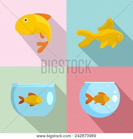 Goldfish And Fishbowl Icons Set. Flat Illustration Of 4 Goldfish And Fishbowl Vector Icons For Web