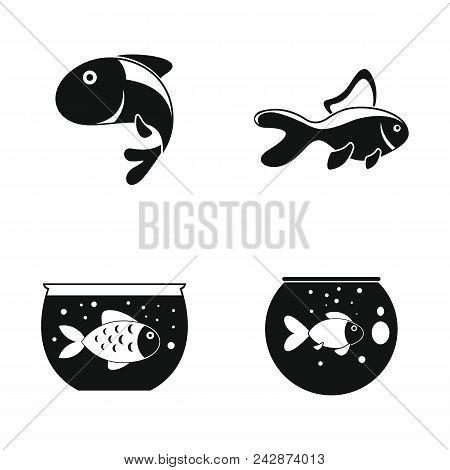 Goldfish And Fishbowl Icons Set. Somple Illustration Of 4 Goldfish And Fishbowl Vector Icons For Web