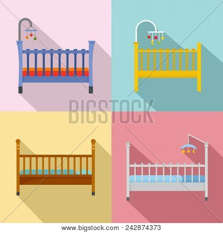 Baby Crib Cradle Bed Icons Set. Flat Illustration Of 4 Baby Crib Cradle Bed Vector Icons For Web