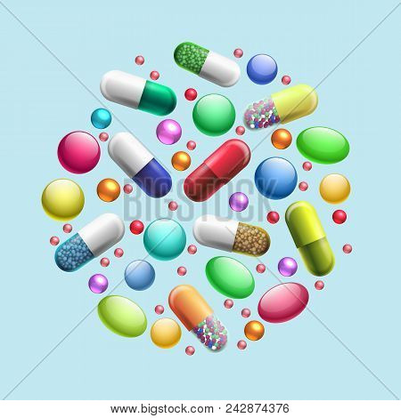 Pills And Tablets Circle. Medicine Painkillers And Drugs Concept Isolated On White Background, Treat