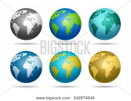 Globe Earth. Blue And Green Europe Detailed Map World Sphere Vector Illustration