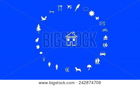 Illustration Of Family Values. A House In The Middle Of A Circle With Family Values. White Symbols O