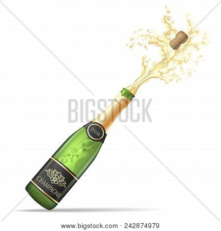 Champagne Explosion. Champagne Bottle Pop And Fizz Vector Illustration For Alcohol Drinking Party Ce