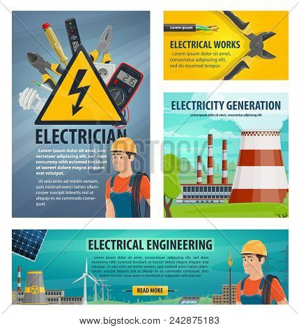 Electrician Energy Poster. Electrician Profession Infographics Poster. Concept Of Electrical Works A