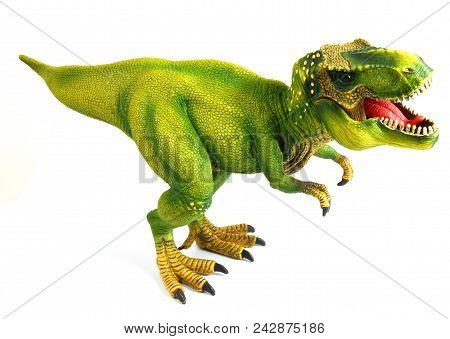 Scary Toy Dinosaur Or Dino Isolated On White Background