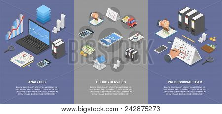 Taxes Accounting Money Banner Concept Set. Isometric Illustration Of 4 Taxes Accounting Money Vector