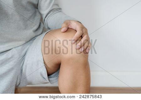 A Man Touching Knee, Knee Joint Pain Concept