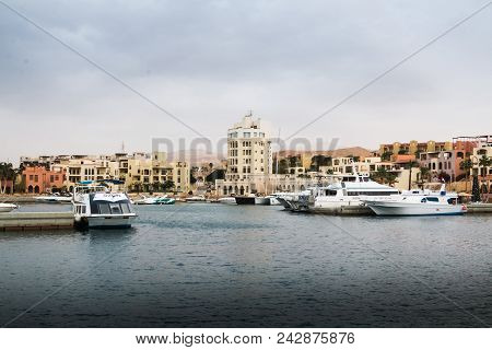 Aqaba, Jordan - December 24, 2017: Modern Marine Full Of Beautiful Yachts In Aqaba City In Tala Bay