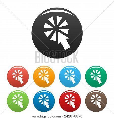 Cursor Interactive Click Icon. Simple Illustration Of Cursor Interactive Click Vector Icons Set Colo