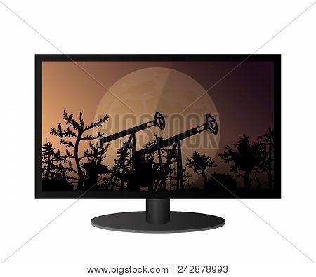 Modern Tv Screen. Plasma Technology. High Definition. Vector Illustration