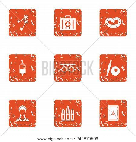 Secret Of Medicine Icons Set. Grunge Set Of 9 Secret Of Medicine Vector Icons For Web Isolated On Wh