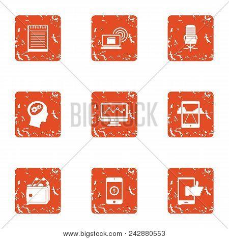 Mobile Phone Technology Icons Set. Grunge Set Of 9 Mobile Phone Technology Vector Icons For Web Isol