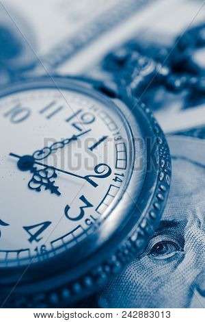 Old Pocket Watch With American 100 Dollar Banknotes Money With Franklin President Portraiture, Macro