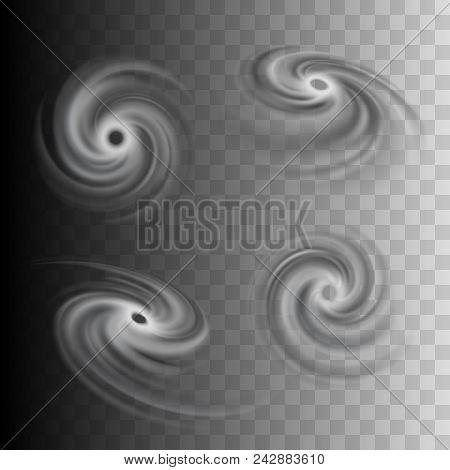 Tropical Storm Vector Icons Set, Hurricane Abstract Representation For Weather Forecast Maps, Tornad