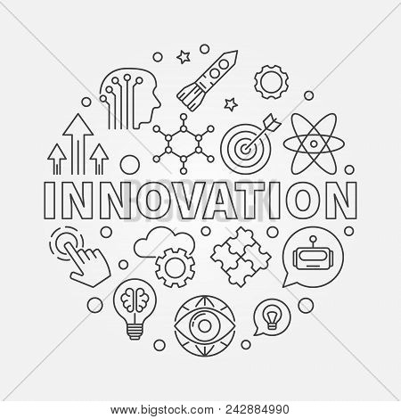 Innovation Vector Round Concept Illustration Made Of Innovations Icons In Thin Line Style